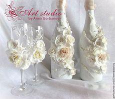 """Купить Набор для свадьбы: бокалы для шампанского и свадебной шампанское """" Утр - золотой, наборы для свадьбы"""