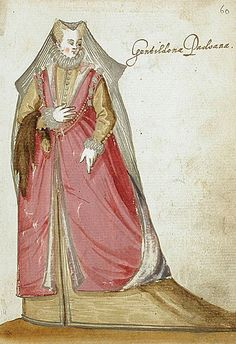 """Paduan Gentlewoman,in the """"Alba Amicorum of a German Soldier"""" (1595). Unknown artist, Los Angeles County Museum of Art."""