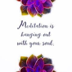 """""""Meditation is hanging out with your soul."""""""