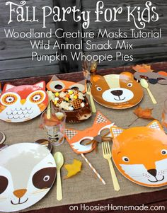 Fall Party for Kids with Woodland Creature Mask Tutorial :: Available on HoosierHomemade.com #Fall #Kids #Party