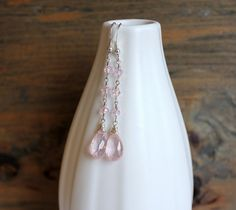 Rose quartz earrings on silver with crystals by ArtfulHummingbird, $45.00