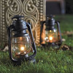 Set of Two Battery-operated Halloween Lanterns - Halloween Decorations and Decor traditional holiday decorations. I want the real ones !!