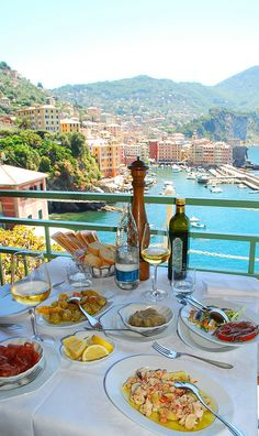 Dinner in Camogli on the Portofino Peninsula, Liguria, Italy