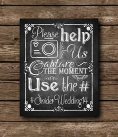Instagram Wedding Chalkboard Sign DIY by SasafrasPrintables, $10.00