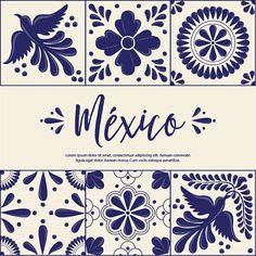 Mexican Traditional Talavera Style Tiles from Puebla; México – Copy Space Floral Composition with Birds Stencil Art, Stencil Designs, México Riviera Maya, Mexican Tattoo, Mexican Pattern, Talavera Pottery, Mexican Designs, Style Tile, Arte Floral