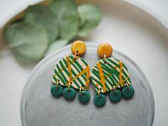 Statement earrings polymer clay earrings abstract earrings
