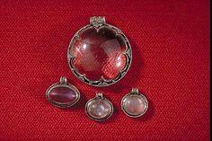 Pendants from Sweden, Gotland, viking era. Rock crystal, amethyst and silver.