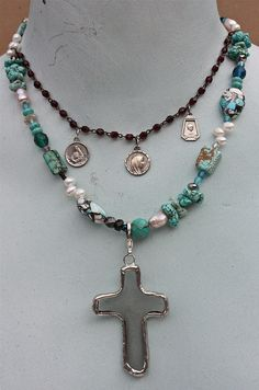 Beach glass cross pendant; vintage rosary beads; vintage religious medals...ooh-la-leigh's