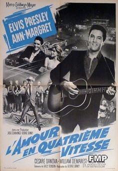 VIVA LAS VEGAS - ELVIS PRESLEY / CAR / GUITAR - ORIGINAL LARGE FRENCH POSTER $119