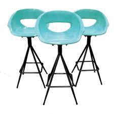 The Modern Historic: Aqua Bar Stools Trio