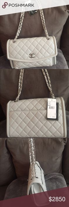 Authentic Chanel bag Authentic 2017 light grey Chanel flap bag. Brand new in pristine condition. Comes with authenticity card and duster bag. 🚫No Trades. 📦Fast Shipping. CHANEL Bags Shoulder Bags