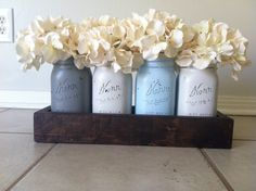 Rustic Mason Jar and wood box table Centerpiece wedding shabby chic distressed vase GREY/BLUE. $35,00, via Etsy.