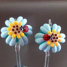 Pikalda Handmade lampwork 2 glass bead earring pair by veradacraft