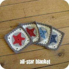 Un granny étoile Des couleurs rouge, bleu, beige, brume.... Une laine toute douce ( Partner 6 de chez Phildar) Pour la fameuse blanket all-star ... Les granny s'entassent il en faut 36 ...