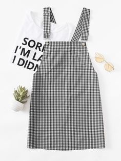 SheIn offers Detachable Strap Gingham Pinafore Dress & more to fit your fashionable needs. Teen Fashion Outfits, Jean Outfits, Trendy Outfits, Dress Outfits, Girl Fashion, Girl Outfits, Summer Outfits, Cute Outfits, Outfit Jeans