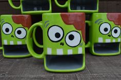 Nom Nom Nom BRAINS - Whimsical Zombie Ceramic Cookies and Milk Dunk Mug - Lime Green - Ready to Ship. $27.00, via Etsy.