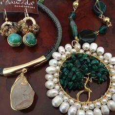 Jaspe quarzo turquesa perla joyeria chapa de oro hecho a mano accesorios diseño mexicano mayoreo laminado