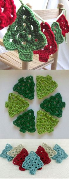 63 Ideas crochet christmas tree ganchillo for 2019 Crochet Christmas Decorations, Crochet Christmas Ornaments, Christmas Crochet Patterns, Holiday Crochet, Noel Christmas, Christmas Bunting, Christmas Knitting, Tree Decorations, Christmas Flowers
