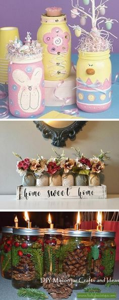 Creative Mason Jar DIY Ideas #masonjarcrafts #diymasonjar Glass Jars With Lids, Mason Jar Lids, Mason Jar Crafts, Crafts To Sell, Diy And Crafts, Jars For Sale, Christmas Mason Jars, Homemade Candles, Holiday Decorations