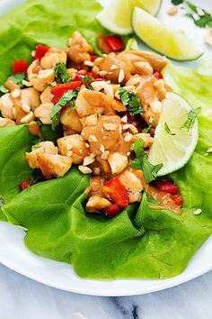 Easy Thai Peanut Chicken Lettuce Wraps   Creme de la Crumb