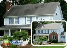 soft washing your home blue sky power washing - New Hampshire & Mass Pressure Washing Vinyl Soffit, Vinyl Siding, Pressure Washing, Hampshire, Restoration, Shed, Outdoor Structures, Outdoor Decor, Blue