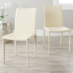 @Overstock - Dress up any dining room with these simple cream dining room chairs. This set of two dining chairs is covered in a sturdy and easy-to-clean bonded leather.http://www.overstock.com/Home-Garden/Jazzy-Bonded-Leather-Cream-Side-Chair-Set-of-2/6585120/product.html?CID=214117 $159.99