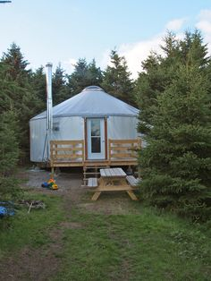 A yurt that houses a family with four children on a small remote island in The Gulf of St Lawrence in Canada.
