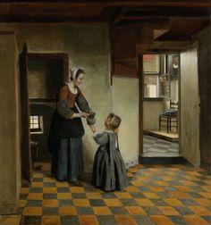 Pieter de Hooch | Woman with a Child in a Pantry, Pieter de Hooch, c. 1656 - c. 1660 | Een vrouw met een kind in een kelderkamer met tegelvloer. Een jonge vrouw reikt een klein meisje een kan met deksel. Links en rechts doorkijkjes naar andere kamers. In de kamer rechts staat het venster open, bij het raam een stoel met kussen, aan de muur een schilderij met een mansportret.