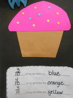 Sprinkle Math: making fractions from cupcake sprinkles. Cute and non-fattening!