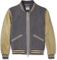 Gant RuggerLeather-Sleeved Wool-Blend Bomber Jacket MR PORTER