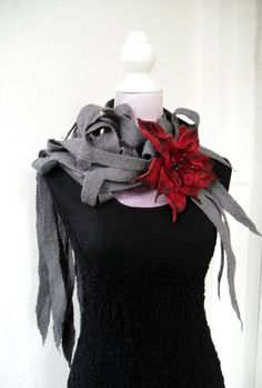 Felted Scarf & Felted Flowers by Lanchen on Etsy, $76.00