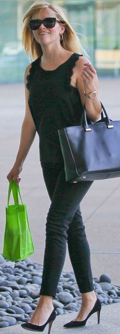 Who made  Reese Witherspoon's black scallop tank top and black handbag that she wore in Hollywood on March 12, 2013?