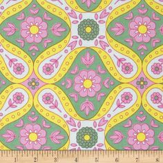 Jennifer Paganelli Good Company Beverly Opal from @fabricdotcom  Designed by Jennifer Paganelli for Free Spirit, this cotton print fabric is perfect for quilting, apparel and home decor accents. Colors include opal blue, grass green, pink and yellow.