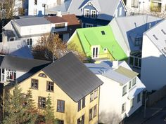 The colorful houses are cheery during a dreary and long winter.