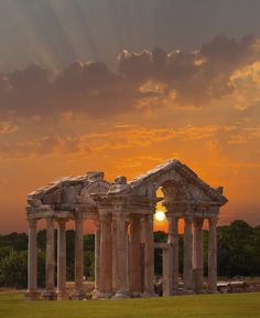 Famous Tetrapylon Gate in Aphrodisias, in Turkey.  This is off the beaten path so very few tourists compared to Ephesus.  This Roman town was a tribute to goddess Aphrodite.  The ruins are spectacular with the largest stadium (30,000) in Anatolia.
