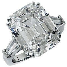 Stunning 10.21 Carat Emerald Cut Diamond Engagement Ring