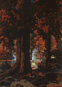 Heures d Or, huile de Maxfield Parrish (1870-1966, United States)