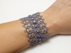 Tatted Jewelry Lace Cuff Bracelet Obsession MTO by SnappyTatter