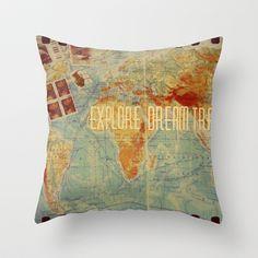 Explore Dream Travel Throw Pillow by Julia Kovtunyak - $20.00