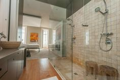 Wood stools in shower
