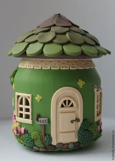 Used Jar and Polymer Clay Fairy House