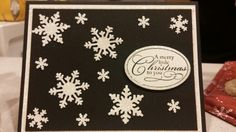Stampin up christmas punch stamp set.  Christmas card 2015.  Snowflake punches, black and white.