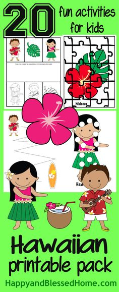 FREE Hawaiian Printable Pack with 20 fun activities for kids from HappyandBlessedHo. You'll love this Hawaiian Luau party with Bacon Wrapped Shrimp Skewers and FREE Hawaiian Activity Pack for Kids - Great ideas for a Luau Hawaiian Crafts, Hawaiian Luau Party, Hawaiian Theme, Hawaii Activities, Fun Activities For Kids, Preschool Activities, Kids Fun, Luau Crafts Preschool, Luau Party Crafts