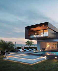 37 Stunning Contemporary House Exterior Design Ideas You Should Copy - Today, contemporary house plans are very intelligently designed to give utmost comfort to the people. These plans not only feature flexible floor spac. Modern Villa Design, Design Exterior, Contemporary House Plans, Contemporary Design, Contemporary Architecture, Luxury Homes Dream Houses, Modern Mansion, Dream House Exterior, Dream Home Design
