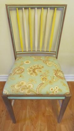 Wooden Springtime Chair with Padded Seat by EmilyAndrews on Etsy, $80.00