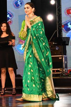 This desi diva has stolen our hearts and how! We're in love with Deepika Padukone in this green saree. Anarkali, Churidar, Lehenga, Sabyasachi, Bollywood Saree, Bollywood Fashion, Bollywood Images, Bollywood Actress, Ethnic Fashion