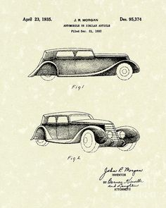 Automobile 1935 Patent Art This Patent Art print is based on artwork from a drawing in a United States Patent. #patentart