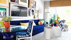 Beach house inspired living room with blue and orange color palette