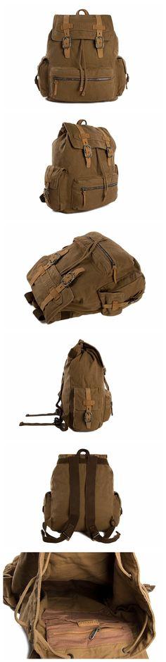 Vintage Style Canvas Backpack, School Backpack, Canvas Leather Backpack, Rucksack 879