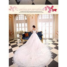 Diamante Off-Shoulder Wedding Ball Gown with Train ($202) ❤ liked on Polyvore featuring dresses and wedding dresses